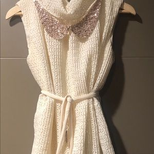 Vintage Knitted Sweater pleated skirt dress